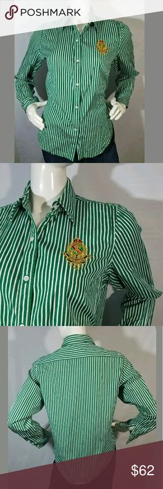 Lauren Ralph Lauren Shirt Crest Petite Large Long Lauren Ralph Lauren Shirt Crest Petite Large Long Sleeve Button Stripes Green 😮  Excellent used condition.  100% Cotton.  20 inches pit to pit.  26 inches long.  LB Lauren Ralph Lauren Tops Button Down Shirts