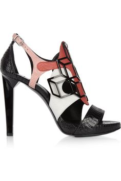 pierre hardy elaphe snakeskin & leather sandal