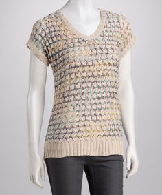 Take a look at this Beige Crocheted Short-Sleeve Top by High Secret on #zulily today!