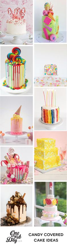 These candy-covered wedding cakes are adorned with sweet treats such as chocolate, jellies gumballs, lollipops and more. Fall Wedding Cakes, Beautiful Wedding Cakes, Wedding Desserts, Alternative Wedding Cakes, Wedding Cake Alternatives, Fab Cakes, Traditional Wedding Cake, Wedding Hairstyles With Veil, Cake Cover