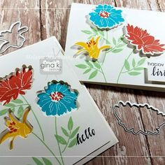 This is just about the coolest thing ever! Today on StampTV, see how Melanie Muenchinger makes use of beautiful die cut flowers from her new Pressed Flowers 2 stamp set and how she uses the negative piece to create another beautiful bouquet card! Watch her Recessed and Raised Bouquet video by clicking the link in my profile. ❤️ #ginakdesigns #flowercards #papercrafts #stamptv #cardmaking #diecutting