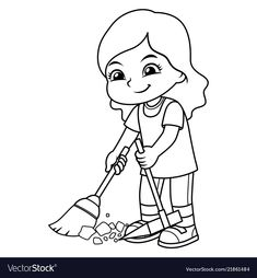 Girl clean up garbage with broom and dust pan bw vector image on VectorStock Cleaning Cartoon, Cleaning Drawing, Motivation Cleaning, Cleaning Quotes, Cleaning Hacks, Cleaning Checklist, Cleaning Products, Deep Cleaning, Spring Cleaning