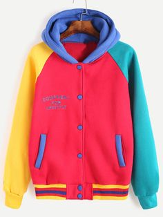 Shop Color Block Letter Embroidered Hooded Baseball Jacket at ROMWE, discover more fashion styles online. Retro Outfits, Cool Outfits, Fashion Outfits, Looks Style, My Style, Kawaii Clothes, Kawaii Fashion, Jacket Style, Hoodies