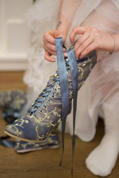 """Custom Etsy boots for my """"something blue"""" shoes Cute Shoes, Me Too Shoes, Wedding Boots, Wedding Veils, Wedding Hair, Bridal Hair, Victorian Boots, Fashion Shoes, Fashion Outfits"""