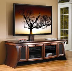 Wood Flat Screen curved TV Stands | Photo of Entertainment Center w Flat Screen TV Panel Support in Autumn ...