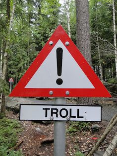 Troll Warning Sign at Hunderfossen Adventure Park in Norway