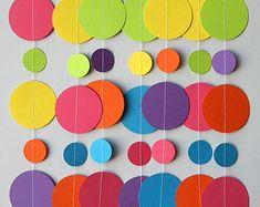 Rainbow paper garland, Birthday decorations, Birthday party decor, Circle paper garland, Nursery decor, First birthday decor, Baby shower