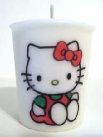 "Hello Kitty Votive Soy Candle  Standard size: 2 inch  Free Shipping  Fragrance:  Sandalwood  Be sure to check out my other Hello Kitty candles, lip balms and jewelry. If you want more than one item, I will make a reserved listing for you.  ""Like"" my sa... $3.50"
