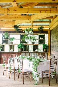 A farmhouse reception space created with plants from the Southern Living Plant Collection.