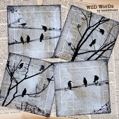 WilD WorDz-  Handmade Glass Coaster Set  from Upcycled Dictionary page book art - Carriers of the Wo...