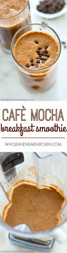 This creamy breakfast smoothie is packed with everything you need to start the day off right! It tastes like a cafè mocha in healthy smoothie form.