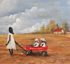 """""""LUCY AND THE TWINS AFRICAN AMERICAN FOLK ART"""" by Kip Hayes, Broussard Louisiana // PAINTING FOLK ART OF LITTLE GIRL PULLING HER SISTERS IN A RED WAGON // Imagekind.com -- Buy stunning, museum-quality fine art prints, framed prints, and canvas prints directly from independent working artists and photographers."""