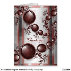 "Black Marble Spiral Personalized Greeting Card  Based on my ""Black Cherry"" fractal. The front cover has spirals of red and black shiny glossy gems on a black and white marbled background - plus an editable text field and red and white decorative panels. The inside cover has a muted version of the marble with a decorative border. The inside back cover has the same marbled background and border plus an area for your personal message with more black cherry gems. Just replace (or clear) the text…"