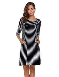 Unibelle Women's Casual 3/4 Sleeve Loose Striped T Shirt Dress with Pockets  at Amazon