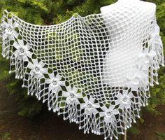crochet flower shawl fashionunique gift valentine by likeknitting Crochet Circle Vest, Crochet Shrug Pattern, Crochet Triangle, Crochet Circles, Crochet Cross, Crochet Blouse, Crochet Poncho, Crochet Motif, Crochet Flowers