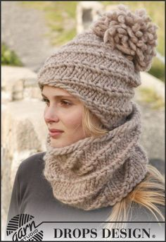 "Cupcake / DROPS - Free knitting patterns by DR-Cupcake / DROPS – Kostenlose Strickanleitungen von DROPS Design Knitted DROPS hat and collar scarf with spiral pattern made of ""Polaris"" or double ""Eskimo"". Crochet Beanie, Knit Or Crochet, Free Crochet, Knitted Hats, Crochet Hats, Knit Cowl, Crochet Granny, Loom Knitting, Knitting Patterns Free"
