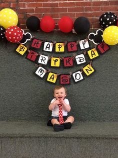 Mickey Mouse Inspired Happy Birthday Banner by PaperPiecingDreams Happy Birthday Mickey Mouse, Mickey 1st Birthdays, Fiesta Mickey Mouse, Mickey Mouse Clubhouse Birthday Party, Mickey Mouse Parties, Happy 2nd Birthday, Mickey Party, Happy Birthday Banners, 2nd Birthday Parties