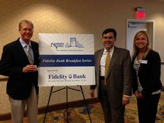 Carl Querino and Cristina DeOliveira (both of Fidelity Bank) with guest speaker Al Kaprielian at the Fidelity Bank Breakfast on June 13, 2013