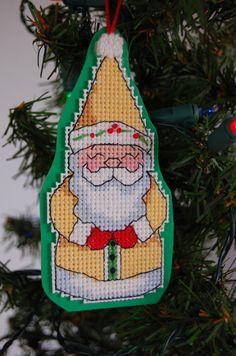 Happy Little Yellow Santa Cross Stitch Ornament by CraftsForKids