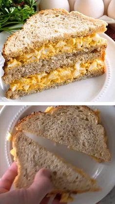 A classic egg salad sandwich perfect for using leftover hard boiled eggs! You might skip the bread and eat this with a spoon! Learn how to make the perfect homemade egg salad sandwich that everyone will love! Save this pin! Gourmet Sandwiches, Tea Sandwiches, Healthy Sandwiches, Breakfast Sandwiches, Low Carb Sandwich, Grill Sandwich, Bagel Sandwich, Bread Sandwich Recipes, Egg Mayo Sandwich