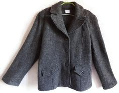 Wool Jacket Brown- Gray Blazer Warm Women's Clothing Neutral Color Buttons Down Jacket Front Pockets Autumn Winter Clothing Organic Jacket by Vintageby2sisters on Etsy