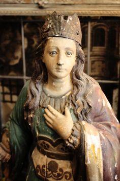Home › ParisCoutureAntiques › Crowns and Santos  Incredible St Filliminia 18th Century Santos Beauty