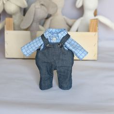 Your place to buy and sell all things handmade Jean Overalls, Denim Jeans, Boy Doll Clothes, Check Shirt, Outfit Sets, Cotton Fabric, Bunny, Blue And White, Dolls