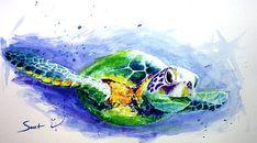 Sea turtle art original watercolor animal painting sea life art wildlife decor
