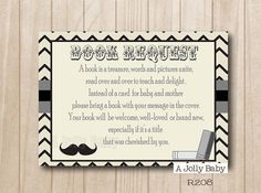 Moustache book request insert card for boy baby shower, bring a book instead of a card, mustache and chevron printable. Instant Download.