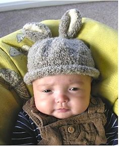 Knit a rabbit hat for a baby: :: Free knitting patterns UK :: Baby knitting patterns