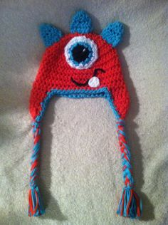 Baby red and blue monster hat sizes newborn to toddler, girls, boys, infant, photo prop, photography. $18.00, via Etsy.