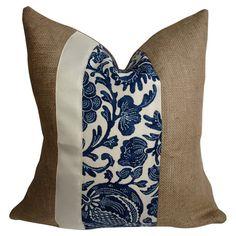 Burlap pillow with a center stripe.       Product: Pillow    Construction Material: Burlap    Color: N...