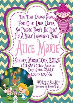 alice in wonderland baby shower invitation | invitation wording, Baby shower invitations