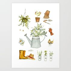 A gardener's toolkit - watercolor print with rubber boots, watering can, flower pots and plant seeds