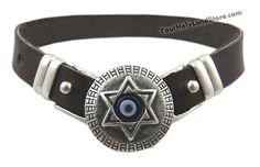 #EvilEye Protection #Leather #Bracelet with #StarOfDavid #Jewish #Jewelry http://www.yourholylandstore.com/evil-eye-protection-leather-bracelet-with-star-of-david/