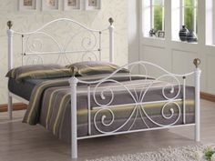 Unbranded Metal Bed Frames & Divan Bases with Slats Metal Double Bed, White Metal Bed, Queen Metal Bed, Bed Design, House Design, Triple Bunk Beds, Water Bed, Childrens Beds, New Beds