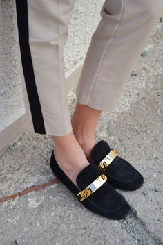 Céline black suede gold chain loafers