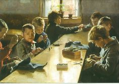 Albert Edelfelt's The Boys Workhouse, Helsinki Century European Painting. Oil on canvas from 1885 Scandinavian Art, Nordic Art, European Paintings, Sewing Art, First Art, Illustrations, Renoir, Vincent Van Gogh, Art For Kids