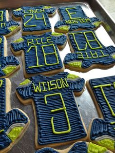 Seattle Seahawk Football Jersey Sugar Cookies. Hmm, just might have to make these for Super Bowl? Feeling optimistic. www.HomematchNW.com #homematchnw #kerryannpray