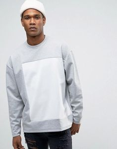 Find the best selection of ASOS Oversized Bonded Sweatshirt With Cut & Sew. Shop today with free delivery and returns (Ts&Cs apply) with ASOS! Cool Tees, Cool Shirts, Asos, Mens Jogger Pants, Apparel Design, Mens Sweatshirts, Shirt Style, Shirt Designs, Men Casual