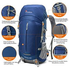 4c0a68a0b3 Amazon.com   Mountaintop 50+5 Liter Internal Frame Backpack with Rain Cover    Sports   Outdoors