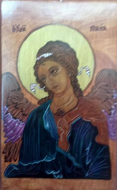 ICON - of the Angel Gabriel Painted with acrylic paints on solid oak board. Gabriel, Mona Lisa, Angels, Artist, Artwork, Painting, Etsy, Fictional Characters, Amor