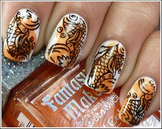 I wanna do something like this! So cool!!! - Orange Nails by NailsandNoms, via Flickr