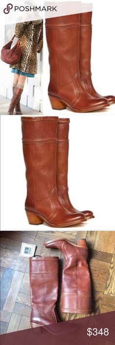 """Frye Jane Leather Stacked Heel To the Knee Boots Style Jane in color redwood! New and never worn. 14"""" Tall x 14"""" shaft ( circumference). 2.5"""" heel. Beautiful craftsmanship and leather. Frye Shoes Heeled Boots"""