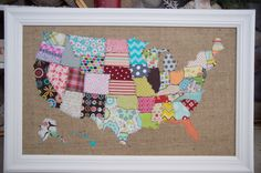 fabric map of the United States quilted on burlap