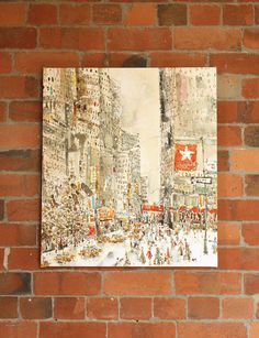 Snow Falling on West 34th Street New York by artist & printmaker Clare Caulfield  *** *** Please Note this item is made to order and will take approximately 2 WEEKS LONGER to produce than regular orders *** ***  This canvas print shows a bustling iconic Manhattan street by Macys department store. Snow is gently falling on West 34th Street New York, as the crowds busily doing their Holiday shopping!  • LARGE FORMAT SIGNED GICLEE STRETCHED CANVAS • Archival quality giclee print taken from m...
