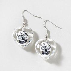 Both sweet & scary: Skull Heart Drop Earrings
