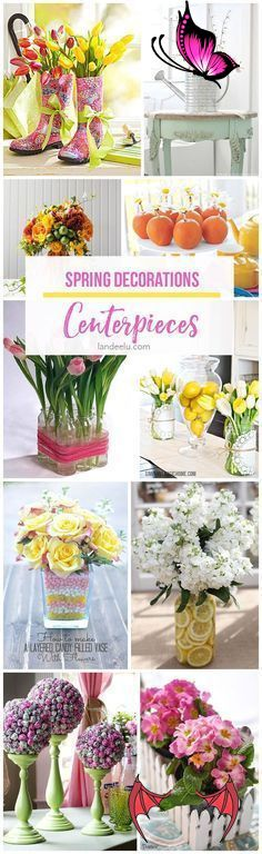 Spring Decorations: Centerpieces - landeelu.com Perfect for Easter, Baby and Bridal Showers or Spring Weddings!  Spring Decorations: Centerpieces -  So many beautiful ideas to add some spring touches to your table!<br> A ton of amazing spring decorations ideas for your table! Centerpieces for any spring occassion...baby showers, weddings, and brunch! Garden Wedding Centerpieces, Spring Wedding Decorations, Diy Party Decorations, Bridal Shower Decorations, Spring Weddings, Table Centerpieces, Decor Wedding, Rustic Wedding Backdrop Reception, Rustic Wedding Signs