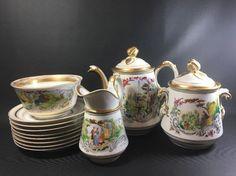 12 Piece Haviland Limoges Depose Mark 1853 Tea Set Ornate Country Scenes 7J #Haviland