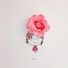 Arte Peculiar, Creative Artwork, Simple Art, Cute Illustration, Cute Drawings, Cute Wallpapers, Cute Art, Art Girl, Flower Art